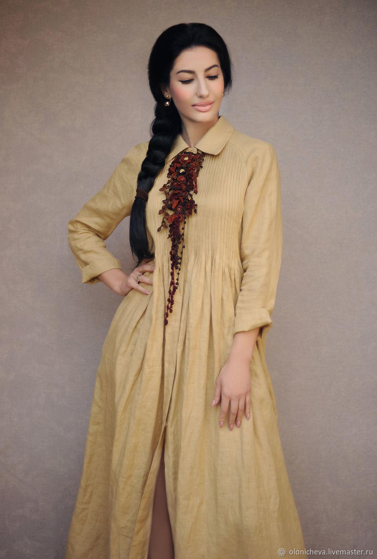 Stylish linen dress 'Camel' long dress made of linen, Dresses, Vinnitsa,  Фото №1