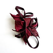 Украшения handmade. Livemaster - original item Brooch flower leather Jam purple wine Marsala. Handmade.