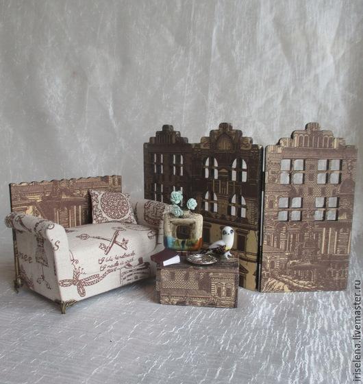 """Кукольный дом ручной работы. Ярмарка Мастеров - ручная работа. Купить """"..Придумав маленькую тайну..."""" Диван с интерьером. Для кукол до 20см. Handmade."""