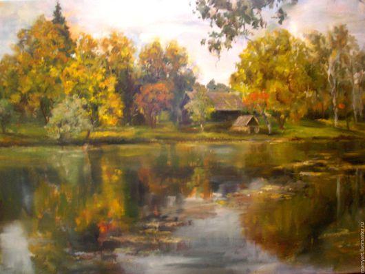 Пейзаж ручной работы. Ярмарка Мастеров - ручная работа. Купить Осень в Вязынке. Handmade. Комбинированный, осень, деревня, пейзаж