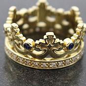 """Кольца ручной работы. Ярмарка Мастеров - ручная работа Золотое кольцо """"Корона"""" с бриллиантами и сапфирами. Handmade."""