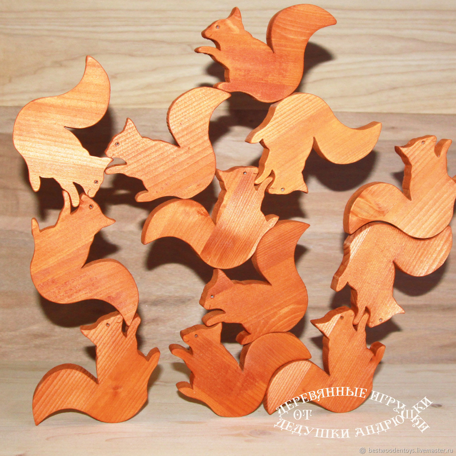 Educational toy balance wheel `Gatherings at the whites`. Consists of 12 squirrels . Wooden toys from Grandpa Andrewski.
