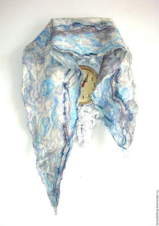 """Шарфы и шарфики ручной работы. Ярмарка Мастеров - ручная работа. Купить Валяный шарф """"  Безмятежность"""".. Handmade. Голубой"""