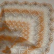 Аксессуары ручной работы. Ярмарка Мастеров - ручная работа Шаль спицами большая Морская пена на песке из 100% шерсти. Handmade.