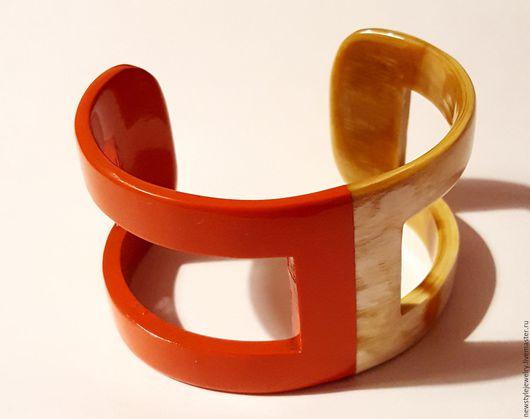 Браслеты ручной работы. Ярмарка Мастеров - ручная работа. Купить Женский жесткий оранжевый браслет на руку из рога буйвола. Handmade.