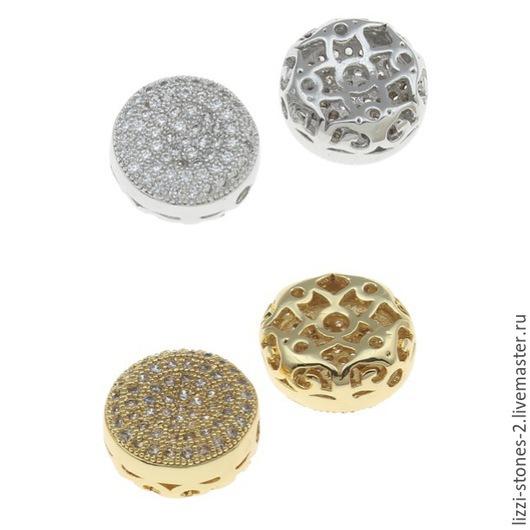 Бусина плоский круг серебро и золото (Milano) Евгения (Lizzi-stones-2)