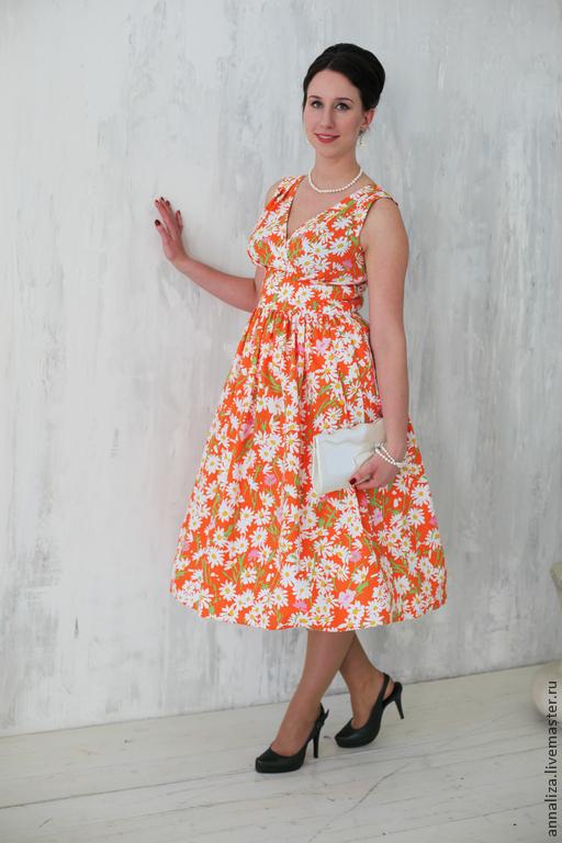 """Платья ручной работы. Ярмарка Мастеров - ручная работа. Купить Ретро платье в стиле 60-х """"РомаРомаРомашка"""". Handmade."""