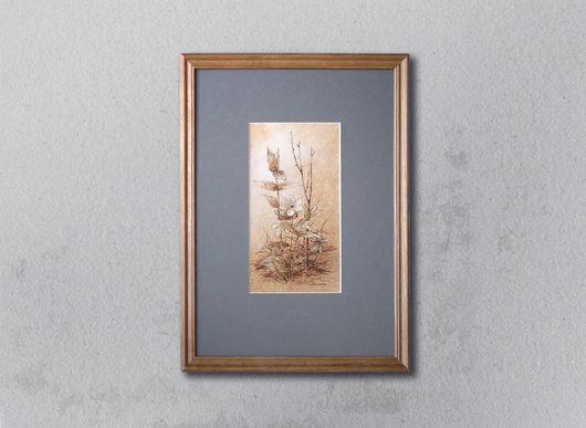 """Пейзаж ручной работы. Ярмарка Мастеров - ручная работа. Купить Картина-репринт """"Лесной цвет"""". Handmade. Голубой, цветы, природа"""