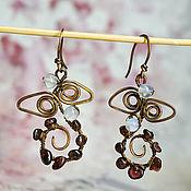 Украшения handmade. Livemaster - original item Copper earrings with garnets. Handmade.