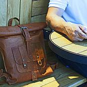 Рюкзаки ручной работы. Ярмарка Мастеров - ручная работа Женский рюкзак из натуральной кожи rolltop retro. Handmade.