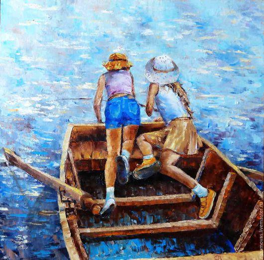 """Люди, ручной работы. Ярмарка Мастеров - ручная работа. Купить Картина маслом """"Клюет!"""" 50 на 50. Handmade. Синий, лодка"""