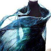 Аксессуары handmade. Livemaster - original item silk scarf handpainted silk dark blue black purple natural silk. Handmade.