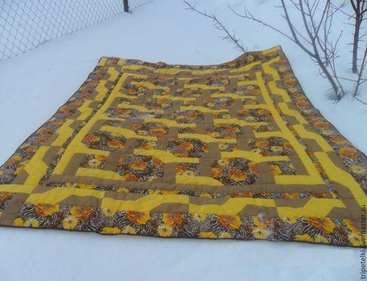 """Текстиль, ковры ручной работы. Ярмарка Мастеров - ручная работа. Купить Лоскутное одеяло """"Солнечное"""". Handmade. Разноцветный, Квилтинг и пэчворк"""