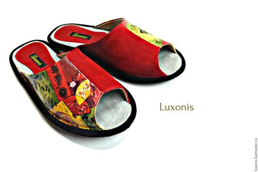 """Обувь ручной работы. Ярмарка Мастеров - ручная работа. Купить Кожаные тапочки """"Япония"""". Handmade. Бордовый, обувь ручной работы"""