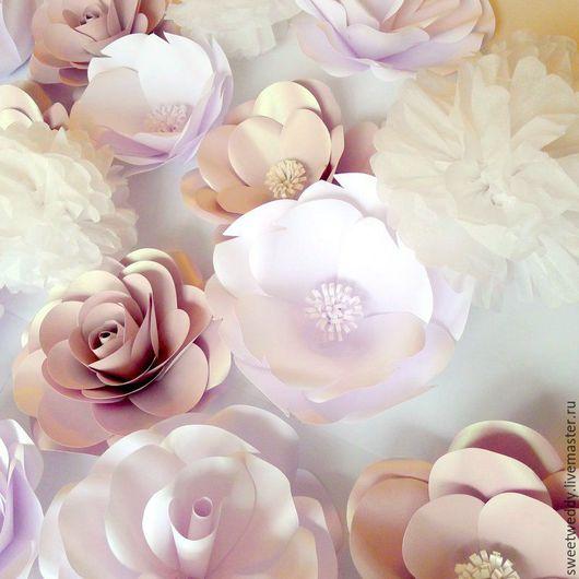 """Свадебные цветы ручной работы. Ярмарка Мастеров - ручная работа. Купить Бумажные цветы для оформления """"Снежана"""". Handmade. Розы"""