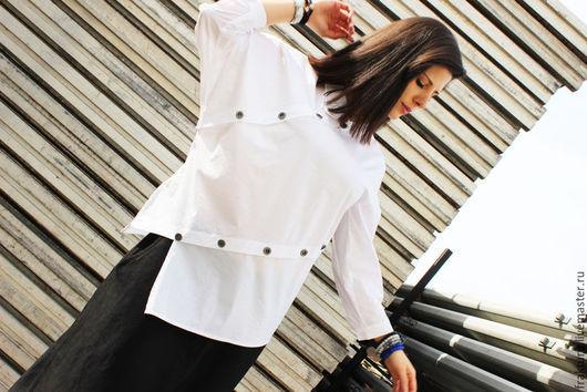 Блузки ручной работы. Ярмарка Мастеров - ручная работа. Купить Асимметричная рубашка  B0002. Handmade. Белый, экстравагантная рубашка, блузка