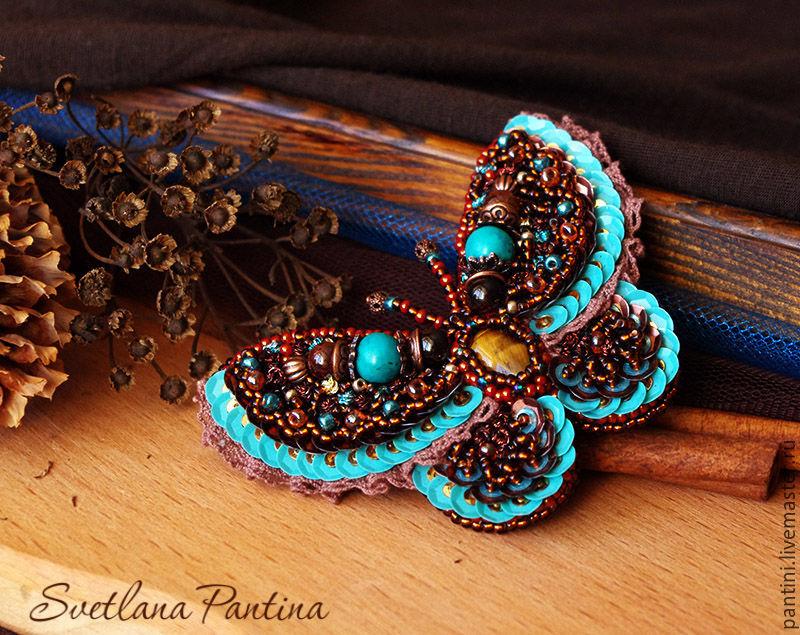 Вышивка бисером бабочки броши