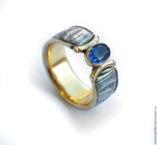 """Кольца ручной работы. Ярмарка Мастеров - ручная работа. Купить Кольцо """"Золотое Руно"""" сапфир, дамасская сталь, серебро, позолота. Handmade."""