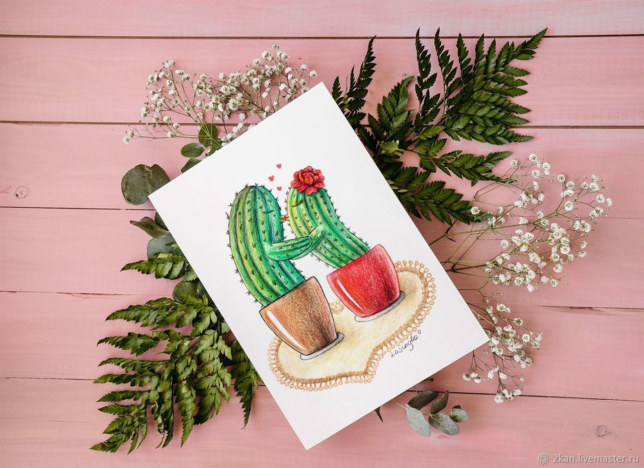 Почтовая открытка - влюбленные кактусы, Открытки, Ступино,  Фото №1