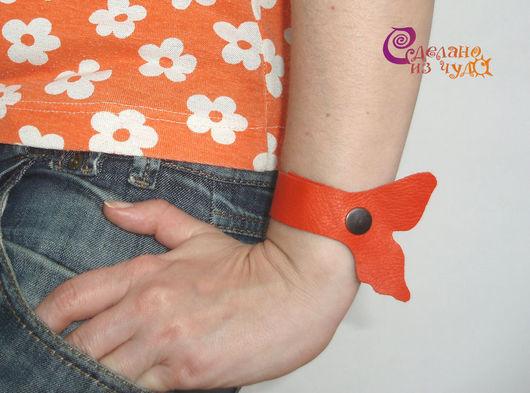 """Браслеты ручной работы. Ярмарка Мастеров - ручная работа. Купить Комплект браслетов """"Бабочка"""". Handmade. Бабочка, рыжий, креативный браслет"""