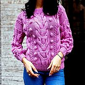 Одежда handmade. Livemaster - original item Pink sweater with dropped shoulders with bumps. Handmade.