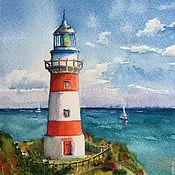 """Картины и панно ручной работы. Ярмарка Мастеров - ручная работа Акварель море маяк """"На высоте"""". Handmade."""