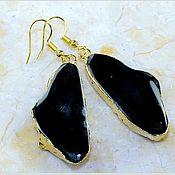 Материалы для творчества handmade. Livemaster - original item a pair of pendants on earrings with black agate in gold.. Handmade.