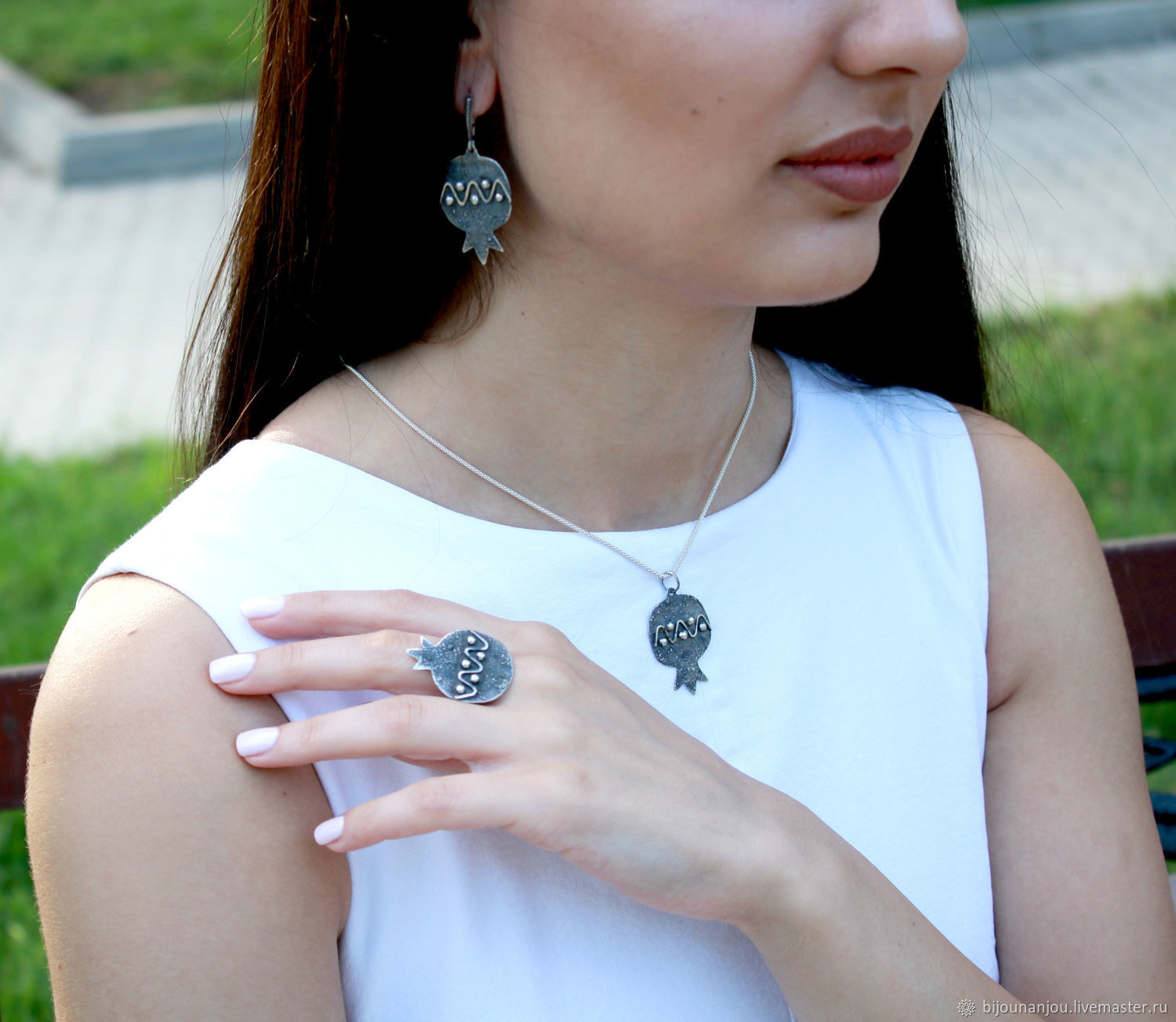Earrings, ring and Garnet pendant made of 925 sterling silver RF0011, Jewelry Sets, Yerevan,  Фото №1