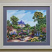"""Картины и панно ручной работы. Ярмарка Мастеров - ручная работа картина """"Летний домик"""" вышивка крестом. Handmade."""