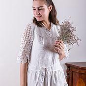 Одежда handmade. Livemaster - original item Linen white long dress for wedding. Handmade.