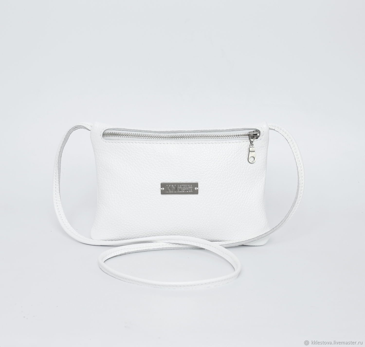 White leather small crossbody bag with long strap phone, Crossbody bag, Moscow,  Фото №1
