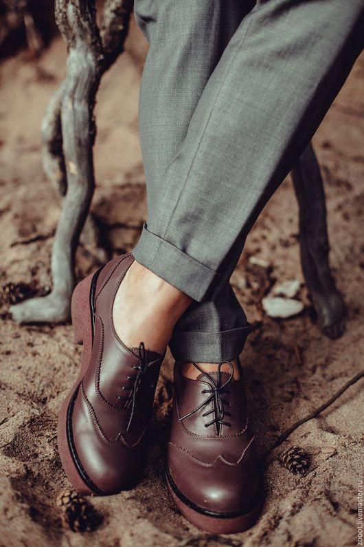 Обувь ручной работы. Ярмарка Мастеров - ручная работа. Купить Акция ! Полуботинки Janis. Handmade. Бордовый, натуральная кожа