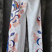 """Одежда ручной работы. Ярмарка Мастеров - ручная работа Брюки женские """"Полет бабочки"""" из льна. Handmade."""