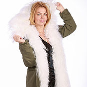 Одежда handmade. Livemaster - original item Coat: fur-lined white. Handmade.