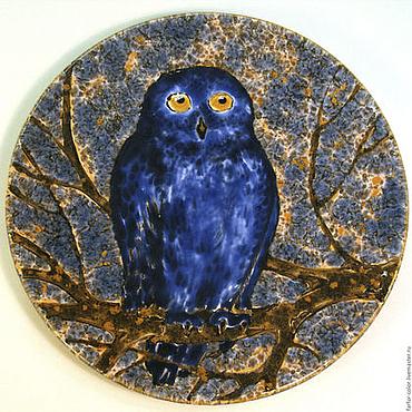 Посуда ручной работы. Ярмарка Мастеров - ручная работа Роспись керамики. Тарелка на стену Синяя Сова. Handmade.