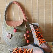 Обувь ручной работы. Ярмарка Мастеров - ручная работа Комплект Войлок  Ботинки и сумочка. Handmade.