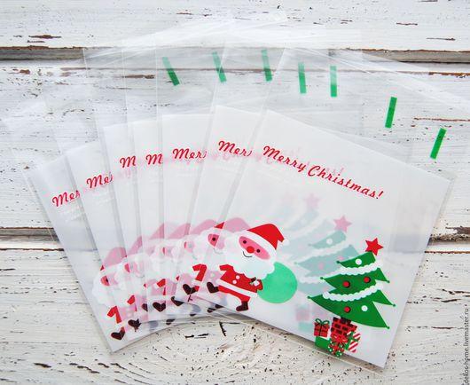 Упаковка ручной работы. Ярмарка Мастеров - ручная работа. Купить Новогодние пакетики. Merry Christmas 10х11см + 3см. Handmade.