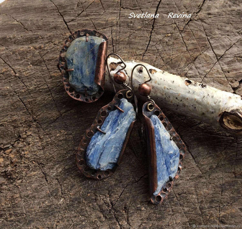 """Кольцо и серьги  """"Морская пена""""  медь с голубым кианитом, Кольца, Талгар,  Фото №1"""