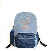Backpacks handmade. Livemaster - original item Women`s large denim backpack sports casual. Handmade.