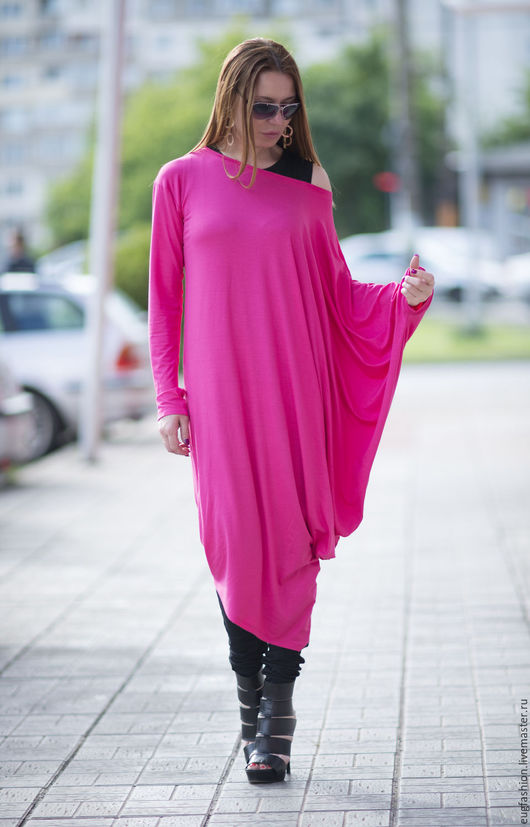 Платье. Длинное платье. Платье Фуксия. Модное платье. Ручная работа. Ярмарка Мастеров.