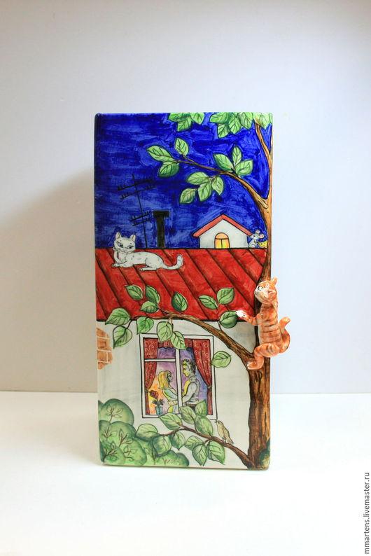 """Вазы ручной работы. Ярмарка Мастеров - ручная работа. Купить Ваза """" Кот на крыше"""". Handmade. Комбинированный, крыша, фарфор"""
