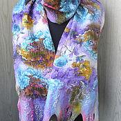 Аксессуары ручной работы. Ярмарка Мастеров - ручная работа шарф валяный на шифоне сиренево- бирюзовый есть в наличии.. Handmade.