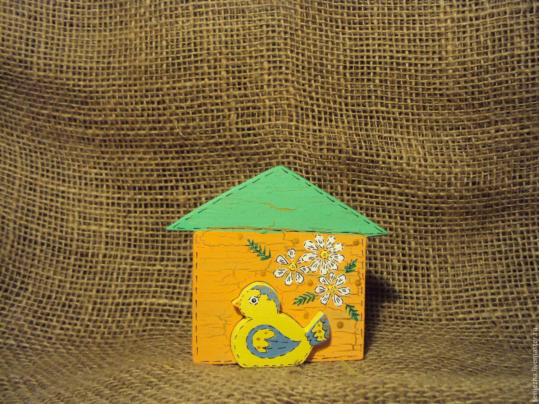 Цыплёнок в домике пазл, деревянная игрушка ручной работы , декорированная.