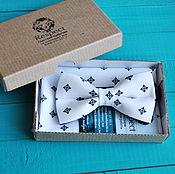 Аксессуары handmade. Livemaster - original item White tie butterfly pattern Handkerchief in his jacket pocket white Duke. Handmade.