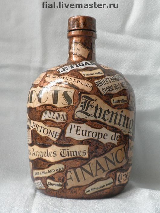 Bottle Decoration handmade. Livemaster - handmade. Buy bottle 'in the world of newspapers'.Bottle, headlines, original gift