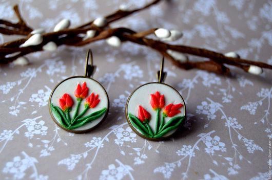 """Серьги ручной работы. Ярмарка Мастеров - ручная работа. Купить Серьги """"Tulipe"""". Handmade. Комбинированный, ручная работа, полимерная глина"""