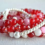Украшения handmade. Livemaster - original item Bracelet made of agate,morganite and crystal beads. Handmade.