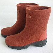 Обувь ручной работы handmade. Livemaster - original item Felted boots with Terracotta leather trim. Handmade.