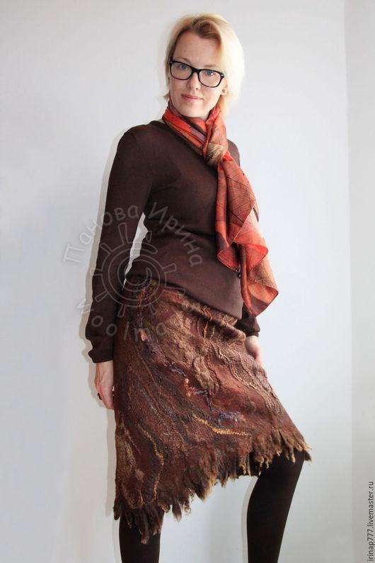 """Юбки ручной работы. Ярмарка Мастеров - ручная работа. Купить юбка """"Сибирские бизоны """". Handmade. Коричневый, юбка теплая"""