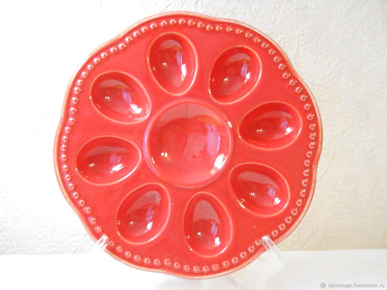 Винтаж: Керамическая Пасхальная тарелка - подставка для яиц, Тарелки винтажные, Калининград,  Фото №1